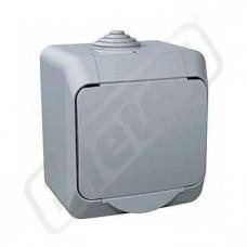 Zásuvka CEDAR WDE000641 jedn.šedá IP44