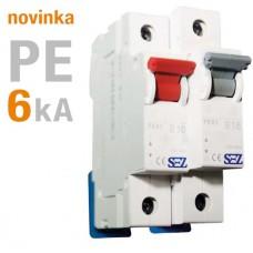 1-fázový jistič PE 6A, char.B, 6kA