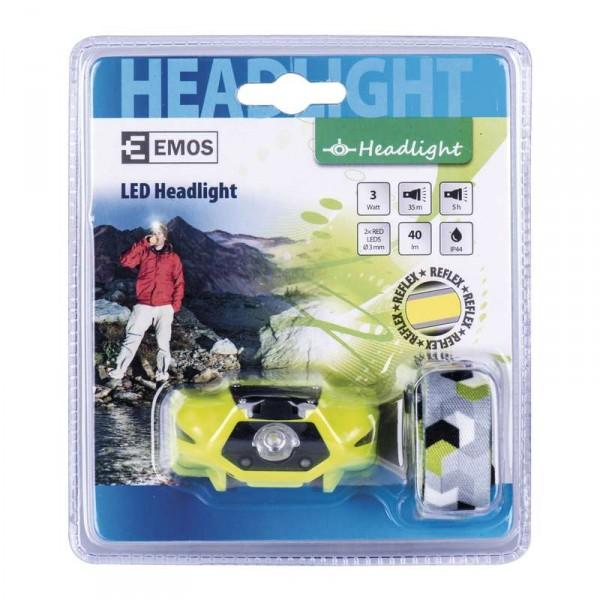 Čelovka na 1x AA, 1x LED 3W + 2x rudá LED