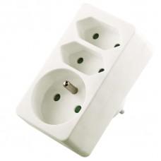 Zásuvka rozbočovací 2x plochá + 1x kulatá, bílá