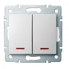 LOGI Dvojité tlačítko s LED - bílá