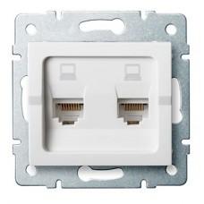 LOGI Dvojitá datová zásuvka nezávislá 2xRJ45Cat 5e Jack - bílá