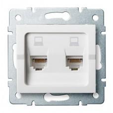 LOGI Dvojitá datová zásuvka nezávislá 2xRJ45Cat 6 Jack - bílá
