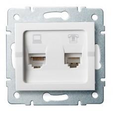LOGI Zásuvka datová-telefonní RJ45Cat 6 + RJ11 - bílá