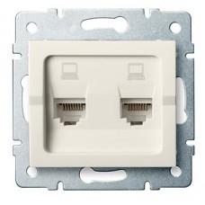 LOGI Dvojitá datová zásuvka nezávislá 2xRJ45Cat 5e Jack - krémová