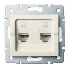 LOGI Dvojitá datová zásuvka nezávislá 2xRJ45Cat 6 Jack - krémová