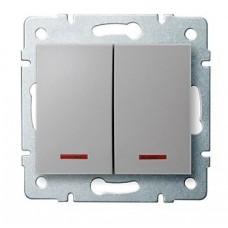 LOGI Dvojité tlačítko s LED - stříbrná