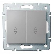 LOGI Schodišťový vypínač č. 6+6 dvojitý stříbrný