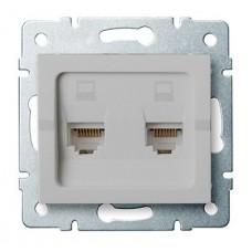 LOGI Dvojitá datová zásuvka nezávislá 2xRJ45Cat 6 Jack - stříbrná