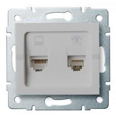 LOGI Zásuvka datová-telefonní RJ45Cat 6 + RJ11 - stříbrná