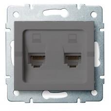 LOGI Dvojitá datová zásuvka nezávislá 2xRJ45Cat 5e Jack - grafit