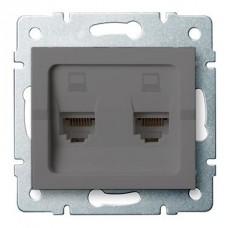 LOGI Dvojitá datová zásuvka nezávislá 2xRJ45Cat 6 Jack - grafit