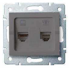 LOGI Zásuvka datová-telefonní RJ45Cat 6 + RJ11 - grafit