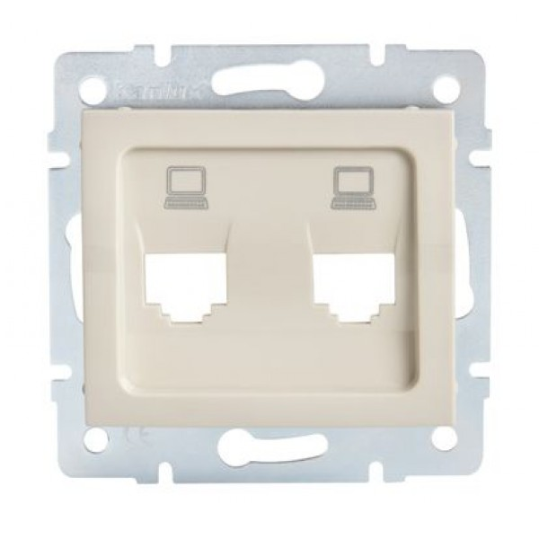 LOGI Adaptér datové zásuvky 2xRJ45 - krémový