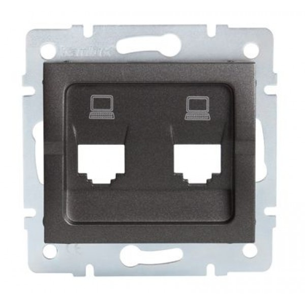 LOGI Adaptér datové zásuvky 2xRJ45 - grafit