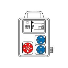 Zásuvková kombinace 2x3253+2x1653 s držákem
