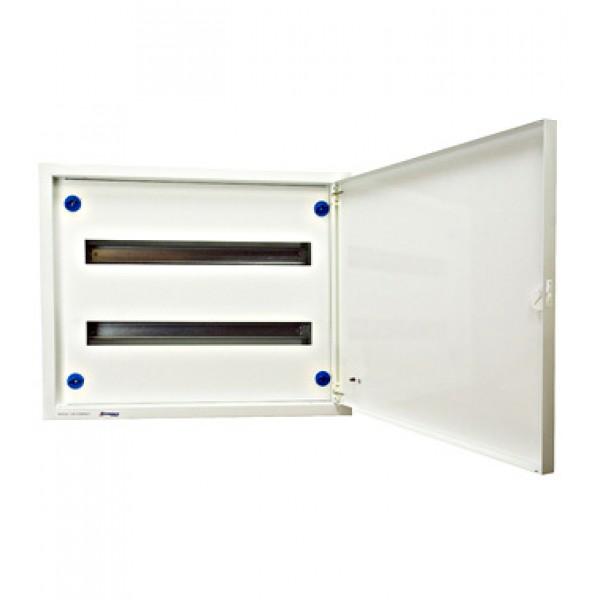 Oceloplechová zapuštěná rozvodnice 2x24, plné dveře, bílá