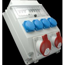 Zásuvková kombinace 2x3253+4x230V s chráničem IP54