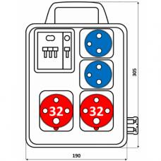 Zásuvková kombinace 2x3243+2x230V jištěná s držákem